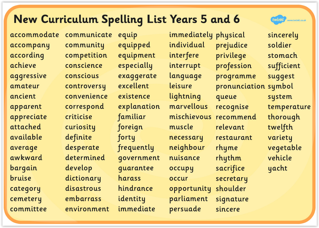 Image result for year 6 statutory spellings
